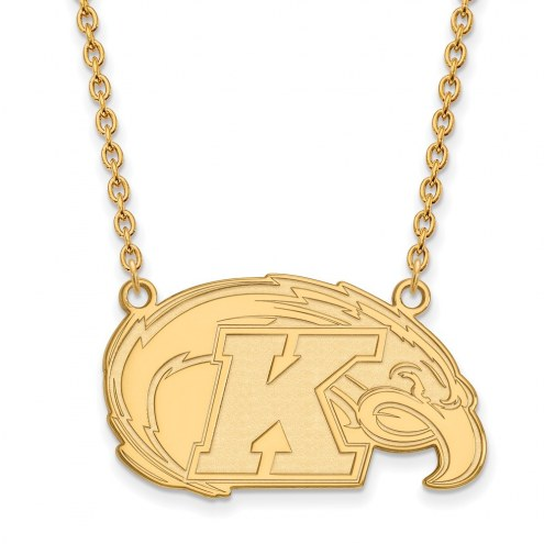Kent State Golden Flashes Sterling Silver Gold Plated Large Pendant Necklace