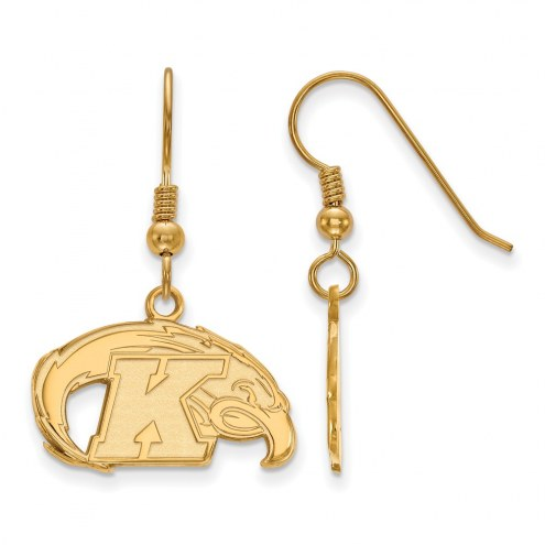 Kent State Golden Flashes Sterling Silver Gold Plated Small Dangle Earrings