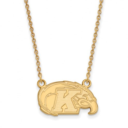Kent State Golden Flashes Sterling Silver Gold Plated Small Pendant Necklace