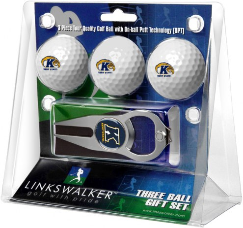 Kent State Golden Flashes Golf Ball Gift Pack with Hat Trick Divot Tool