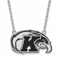 Kent State Golden Flashes Sterling Silver Large Enameled Pendant Necklace