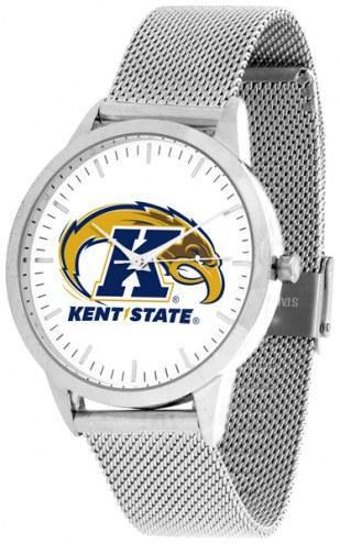 Kent State Golden Flashes Silver Mesh Statement Watch