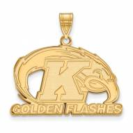Kent State Golden Flashes Sterling Silver Gold Plated Large Pendant