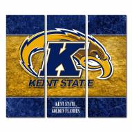Kent State Golden Flashes Triptych Double Border Canvas Wall Art