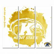 Kent State Golden Flashes Triptych Watercolor Canvas Wall Art