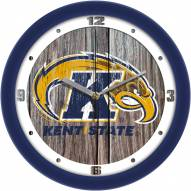 Kent State Golden Flashes Weathered Wood Wall Clock