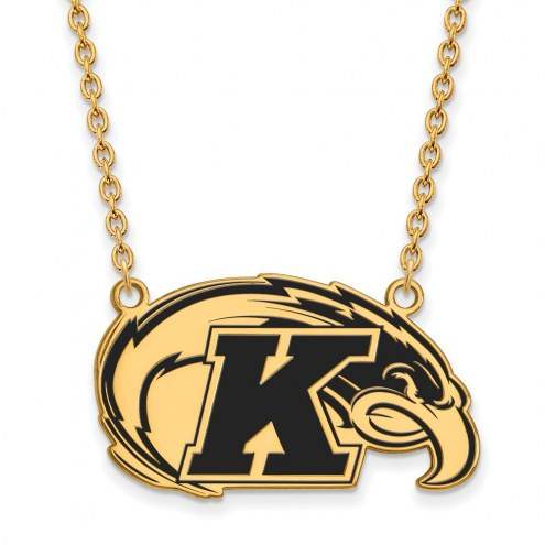 Kent State Golden Flashes Sterling Silver Gold Plated Large Enameled Pendant Necklace