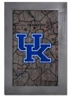 """Kentucky Wildcats 11"""" x 19"""" City Map Framed Sign"""