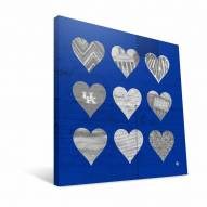 "Kentucky Wildcats 12"" x 12"" Hearts Canvas Print"