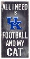 """Kentucky Wildcats 6"""" x 12"""" Football & My Cat Sign"""