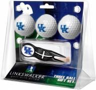 Kentucky Wildcats Black Crosshair Divot Tool & 3 Golf Ball Gift Pack