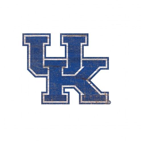 Kentucky Wildcats Distressed Logo Cutout Sign