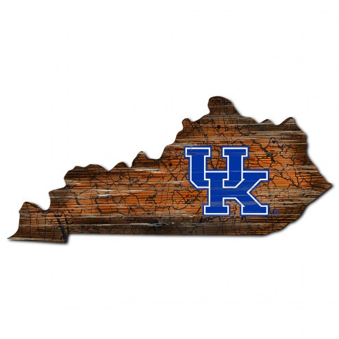 Kentucky Wildcats Distressed State with Logo Sign