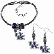 Kentucky Wildcats Euro Bead Earrings & Bracelet Set