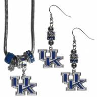 Kentucky Wildcats Euro Bead Earrings & Necklace Set
