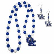 Kentucky Wildcats Fan Bead Earrings & Necklace Set