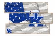 Kentucky Wildcats Flag 3 Plank Sign