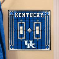 Kentucky Wildcats Glass Double Switch Plate Cover