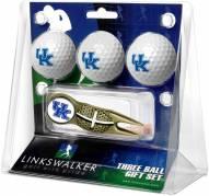 Kentucky Wildcats Gold Crosshair Divot Tool & 3 Golf Ball Gift Pack