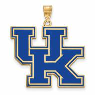 Kentucky Wildcats Sterling Silver Gold Plated Extra Large Enameled Pendant
