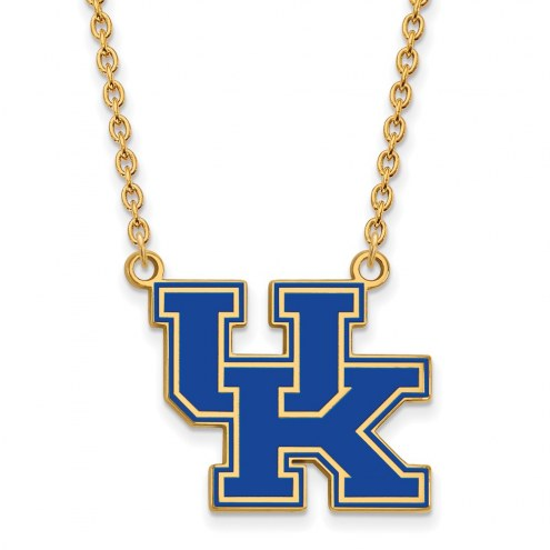 Kentucky Wildcats Sterling Silver Gold Plated Large Enameled Pendant Necklace