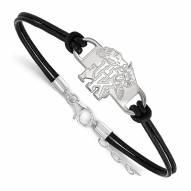 Kentucky Wildcats Sterling Silver Black Leather Bracelet