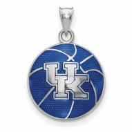 Kentucky Wildcats Sterling Silver Enameled Basketball Pendant