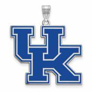 Kentucky Wildcats Sterling Silver Extra Large Enameled Pendant