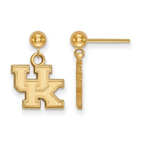 Kentucky Wildcats Sterling Silver Gold Plated Dangle Ball Earrings