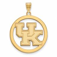 Kentucky Wildcats Sterling Silver Gold Plated Large Circle Pendant