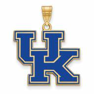 Kentucky Wildcats Sterling Silver Gold Plated Large Enameled Pendant