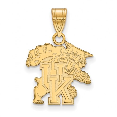 Kentucky Wildcats Sterling Silver Gold Plated Medium Pendant
