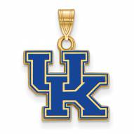 Kentucky Wildcats Sterling Silver Gold Plated Small Enameled Pendant