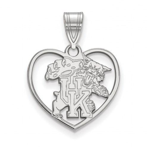 Kentucky Wildcats Sterling Silver Heart Pendant