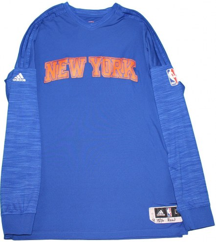 Kevin Seraphin New York Knicks 2015-16 Game Used #1 Blue Long Sleeve Warmup Shirt (3XL)
