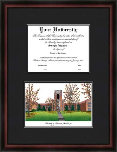 University of Tennessee Knoxville Diplomate Framed Lithograph with Diploma Opening