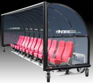 Kwik Goal Semi-Permanent Elite Shelter with Luxury Seats with Wheels - 9 ft