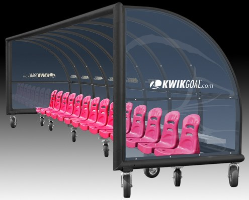 Kwik Goal Semi-Permanent Elite Shelter with Molded Seats with Wheels - 21 ft