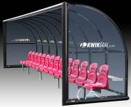 Kwik Goal Semi-Permanent Elite Shelter with Molded Seats - 21 ft