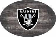 """Las Vegas Raiders 46"""" Distressed Wood Oval Sign"""