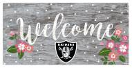 """Las Vegas Raiders 6"""" x 12"""" Floral Welcome Sign"""