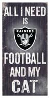"Las Vegas Raiders 6"" x 12"" Football & My Cat Sign"