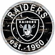 Las Vegas Raiders Distressed Round Sign