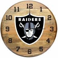Las Vegas Raiders Oak Barrel Clock