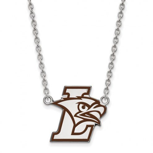 Lehigh Mountain Hawks Sterling Silver Large Enameled Pendant Necklace