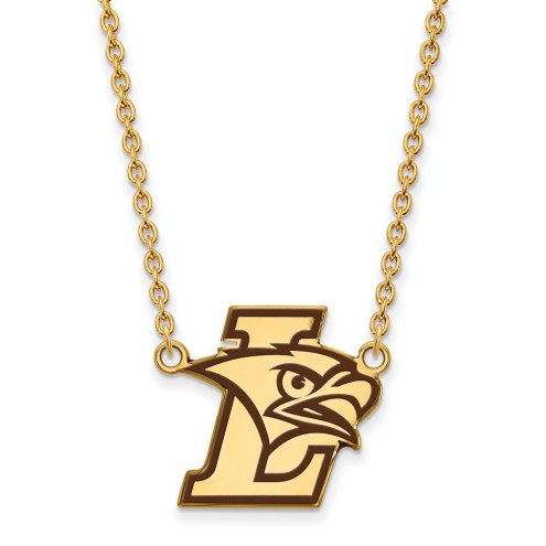 Lehigh Mountain Hawks Sterling Silver Gold Plated Large Enameled Pendant Necklace