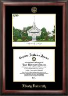 Liberty Flames Gold Embossed Diploma Frame with Campus Images Lithograph
