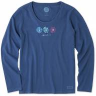 Life is Good 3 Happy Daisies Crusher Women's Long Sleeve Shirt