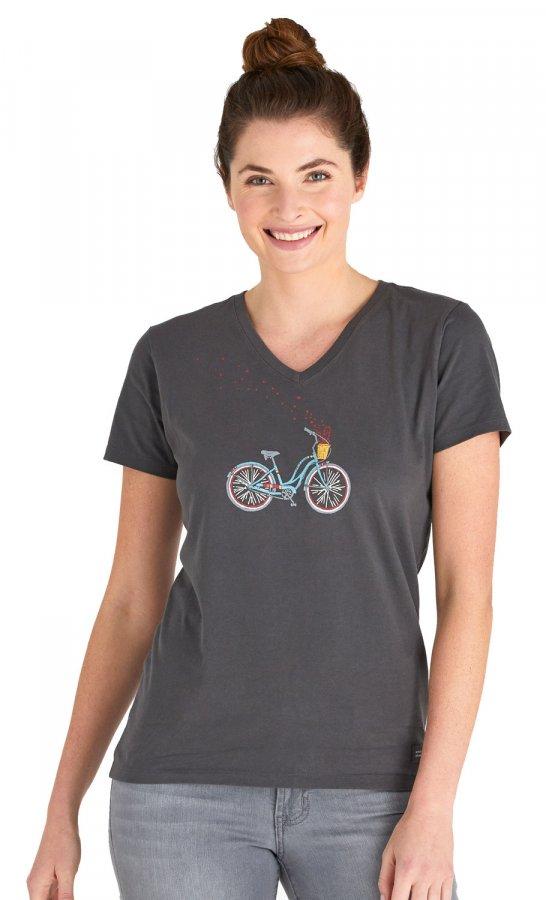 Life is Good Women's Bike Heart Basket Crusher V-Neck T-Shirt