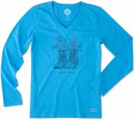 Life is Good Women's Happy Trails Boots Crusher Vee Long Sleeve Shirt